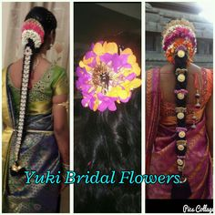 veni made from fresh pink flowers. #kancheepuram sarees #hair accessories #bridal hair #veni #poolajada
