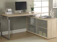 Hollow-Core L Shaped Desk with Frosted Glass by Monarch Specialties in Office Desks