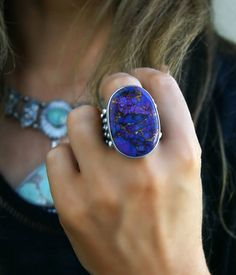 The Feeling of Royalty - Mohave Turquoise Sterling Silver Ring by MercuryOrchid on Etsy