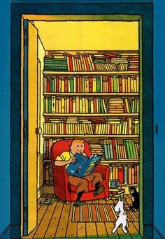 This has everything I want in it. Tintin, Snowy AND books!