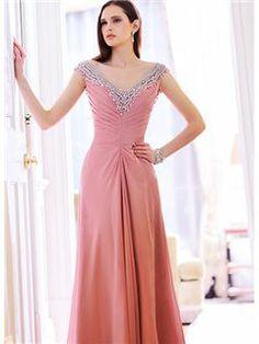 Fashion Elegant Beading V-Neck A-Line Floor Length Prom Dress