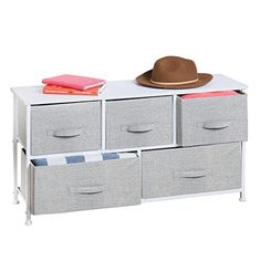 mDesign Extra Wide Dresser Storage Tower - Sturdy Steel Frame, Wood Top, Easy Pull Fabric Bins - Organizer Unit for Child/Kids Bedroom or Nursery - Textured Print - 5 Drawers - Gray/White Drawer Storage Unit, Dresser Storage, Table Storage, Closet Storage, Bedroom Storage, Storage Spaces, Fabric Bins, Fabric Storage, Entryway Dresser