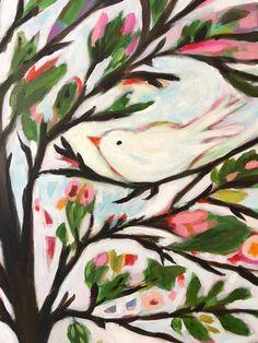 ohemian Tree of Life with Bird Original door karenfieldsgallery