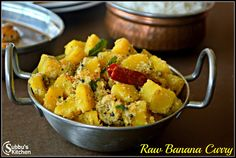 Vazhakkai Poriyal, Raw Banana Curry, Raw Banana curry is a very quick and and easy poriyal variety, Plantain Curry. Banana Curry, Raw Banana, Plantain Recipes, Banana Recipes, Side Recipes, Indian Food Recipes, Ethnic Recipes, Kerala Recipes, Curry Kitchen