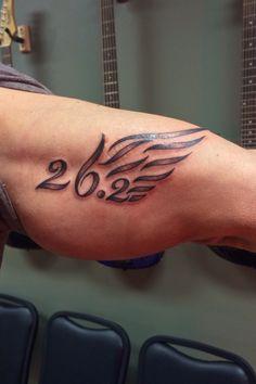 26.2/Marathon tattoo My husband got this tattoo on his bicep after his third marathon.