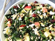 Kale and Wild Rice Salad. Kale and Wild Rice Salad- kale salad with wild rice apples avocado dried cranberries goat cheese and almonds. Taco Side Dishes, Side Dishes For Salmon, Best Side Dishes, Healthy Side Dishes, Healthy Sides, Side Recipes, Healthy Recipes, Vegetarian Recipes, Vegetarian Fajitas