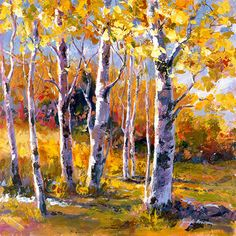 Beautiful Birches by Jennifer Bowman Art Tutorials Watercolor, Leaf Art, Tree Painting Canvas, Floral Painting, Contemporary Landscape Painting, Oil Painting Nature, Painting, Fall Tree Painting, Landscape Art