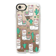 Llamas Alpaca Cactus & Flowers - iPhone 7 Case And Cover ($39) ❤ liked on Polyvore featuring accessories, tech accessories, iphone case, flower iphone case, iphone cover case, clear flower iphone case, iphone cases and clear iphone case