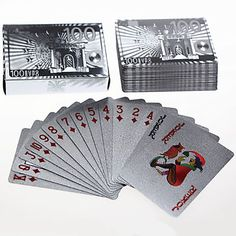 Silver Foil  Art Poker Plated Playing Cards EURO 5 sets lot