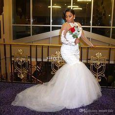 Plus Size Illusion Long Sleeve Wedding Dresses White Lace Beads Mermaid Sheer High Neck Chapel Train Tulle 2017 Vintage Bridal Wedding Gowns Wedding Dresses Plus Size Vestidos De Novia Online with $168.0/Piece on Sweet-life's Store | DHgate.com