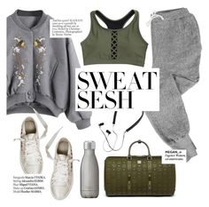 """""""Sweat Sesh: Gym Style"""" by punnky ❤ liked on Polyvore featuring V::ROOM, Polaroid, MCM, Swell and Haute Hippie"""