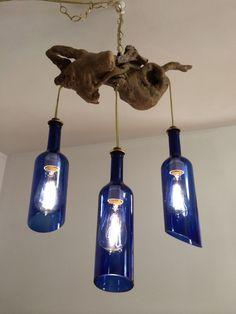 Cobalt Blue Wine Bottles Driftwood Hanging Light by PMGlassArt, $130.00