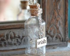 Wishes: Real Dandelion Seed bottle Necklace - Childhood Memories