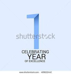 1 year anniversary, signs, symbols. simple design.
