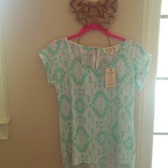 NWT. Adorable mint and white Aztec inspired top! PINK ROSE NWT mint and white top with gold zipper in back. Aztec inspired pattern in beautiful Mint/sea foam color! Pink Rose Tops Blouses