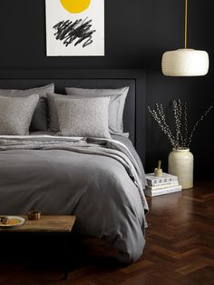 secret linen store relaxed denim graphite grey bed linen set