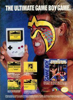 The Ultimate Warrior hawking WWF Superstars for the Nintendo Gameboy. Vintage Video Games, Classic Video Games, Retro Video Games, Vintage Games, Gi Joe, Wwf Superstars, Wrestling Superstars, Playstation, Handheld Video Games