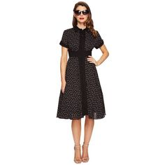 Unique Vintage Sleeved Button Up Peggy Swing Dress (Black Lipstick... (5.085 RUB) ❤ liked on Polyvore featuring dresses, button down dress, swing dress, half sleeve dresses, retro swing dress and vintage retro dresses