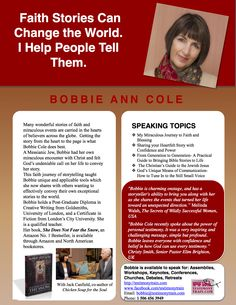 Bobbie Ann Cole One Sheet Sample Authoronesheets All Speakers And Authors Who