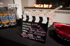 7 Easy Oscars Party DIYs from the 2013 #OscarUp | Directors Clapboard Cocktail Menu & Punny Best Picture Drinks