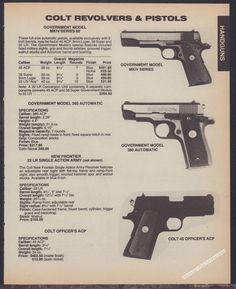 1986 COLT Government MKIV Series 80, Gvt 380, 45 Officer's ACP PISTOL AD* #ColtLoading that magazine is a pain! Get your Magazine speedloader today! http://www.amazon.com/shops/raeind