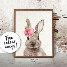 Nursery Wall Art Rabbit Print Woodlands Decor by AMELIEVintageCo
