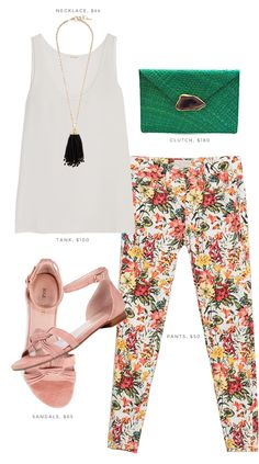 Floral pants and pop of green