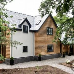 Oak Frame House Open Day exterior cladding, rendering, slate roof