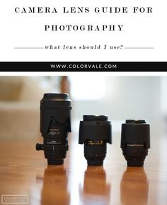 Camera Lens Guide for Photographers - What Lens Should I use and WHY??  Get a basic understanding of what all the numbers on the side of your lens mean and see examples of images taken with different lenses - http://www.colorvaleactions.com/blog/camera-lens/