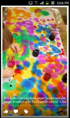 Water colours paper towels droppers