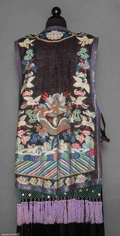 790bbe6ebd WOMAN'S SLEEVELESS SILK COAT, CHINA, 19TH C Kessu weave, black ground w