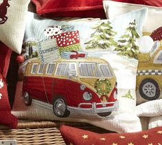 Van Embroidered Crewel Pillow Cover, 18