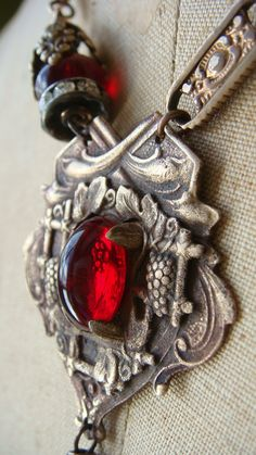 Assemblage Victorian Fob and Tassel Necklace Red Vintage Czech Glass Cobwebpalace