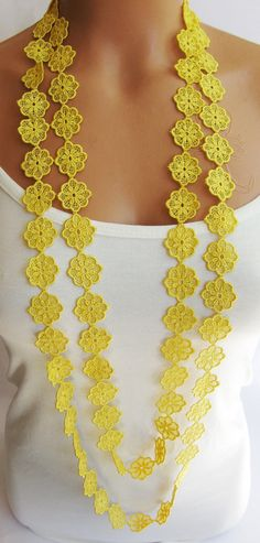 Summer Fashion lace necklace infinity yellow by emofoFashionDesing, $18.00