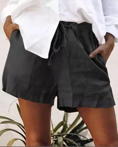 Women Solid Pockets Shift Short Pants Linen Pants Women, Pants For Women, Cotton Pants, Outerwear Women, One Piece Swimwear, Short Skirts, Black Pants, Casual Shorts, Sweaters For Women