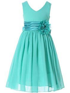 Bow Dream Flower Girl Dress bridesmaid V-Neckline Chiffon Turquoise 6