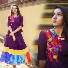 Buy Purple Long Skirt With Peplum Top Online| Beyondgallery.Com