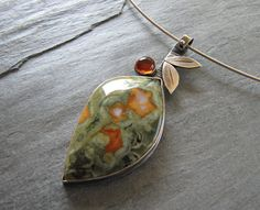 Australian Rain Forest Jasper with Amber and by MoonSilverStudio