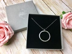 Modern silver necklace, hoop pendant, sterling silver circle jewelry, Eternity Circle, 30th 40th birthday gift for wife, sister, friend by CurioSparkle on Etsy https://www.etsy.com/uk/listing/507057517/modern-silver-necklace-hoop-pendant