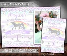 Unicorn Birthday Invitation, Unicorn Invitation, Unicorn Birthday Party Invite, Unicorn Invite, Winter Wonderland, Snowflakes, Silver, #570 by PerfectPrintableCo on Etsy