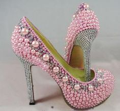 pink pearls and clear crystals make this shoe pure eye candy as you walk down the aisle on the big day! Bling Shoes, Fancy Shoes, Unique Shoes, Crazy Shoes, Me Too Shoes, Bridal Shoes, Wedding Shoes, Pump Shoes, Shoe Boots