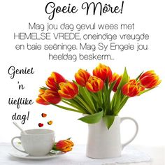 Geniet 'n lieflike dag! Morning Inspirational Quotes, Good Morning Quotes, Good Morning Vietnam, Goeie Nag, Goeie More, Afrikaans Quotes, Quote Of The Day, Love Quotes, Blessings