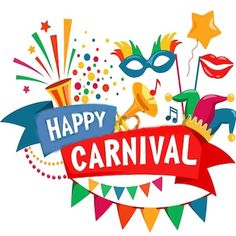 Happy Carnival Festive Concept with Musical Trumpet Mask Lips Jester Hat Bunting and Confetti Isolated on White Background Carnival Fashion, Museum Exhibition Design, Carnival Posters, Jester Hat, 3d Shapes, En Stock, Doodle Art, Royalty Free Photos, Silhouette
