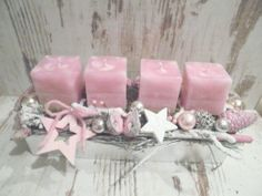 4 solid colored square safety candles in the Trendfar antique pink are . Rose Gold Christmas Decorations, Christmas Advent Wreath, Christmas Arrangements, Christmas Candles, Xmas Decorations, Christmas Crafts, Deco Table Noel, Classy Christmas, Continue Reading
