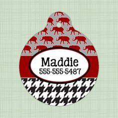 Custom Pet ID Tag circle Alabama Crimson Tide print, Personalized Dog Tag, Identification name tag, Cat Tag, Lunch Box Tag, Bag Tag