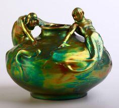 Zsolnay art nouveau vase with mermaids (Lajos Mack) Art Nouveau, Art Deco, Pottery Art, Hungary, Mermaids, Random Things, Mystic, Feminine, Antiques