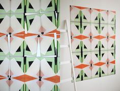 Temporary Tapestry are photographic images of the papers that are turned into playful patterns that let you create your own wallpaper at home.