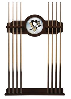 """This Pittsburgh Penguins 2 piece Cue Rack by Holland Bar Stool is a must have accessory for your pool table and game room. Top piece features CNC routed decorative elements and a 10 ½"""" mirrored center"""