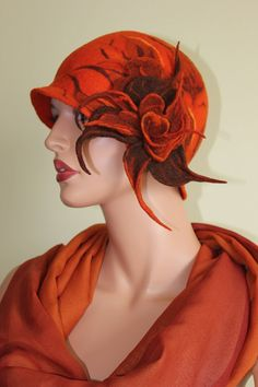 yeeeeeeeeeeeeeeeeeessss!!! Felted hat orangefelt hat with original by ZiemskaArt on Etsy, $99.00