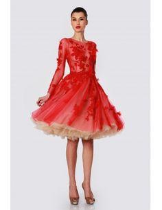 Rochie Nicole Enea din tulle cu dantela de bumbac/red tulle dress